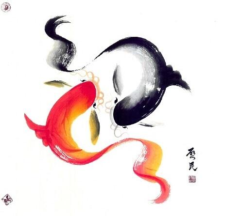 风水鱼-国礼画家郭启民赠画168幅 助推潮语歌曲图片