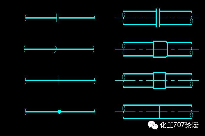 管道连接的画法 管道的连接方式主要有:法兰连接,承插焊连接,螺纹