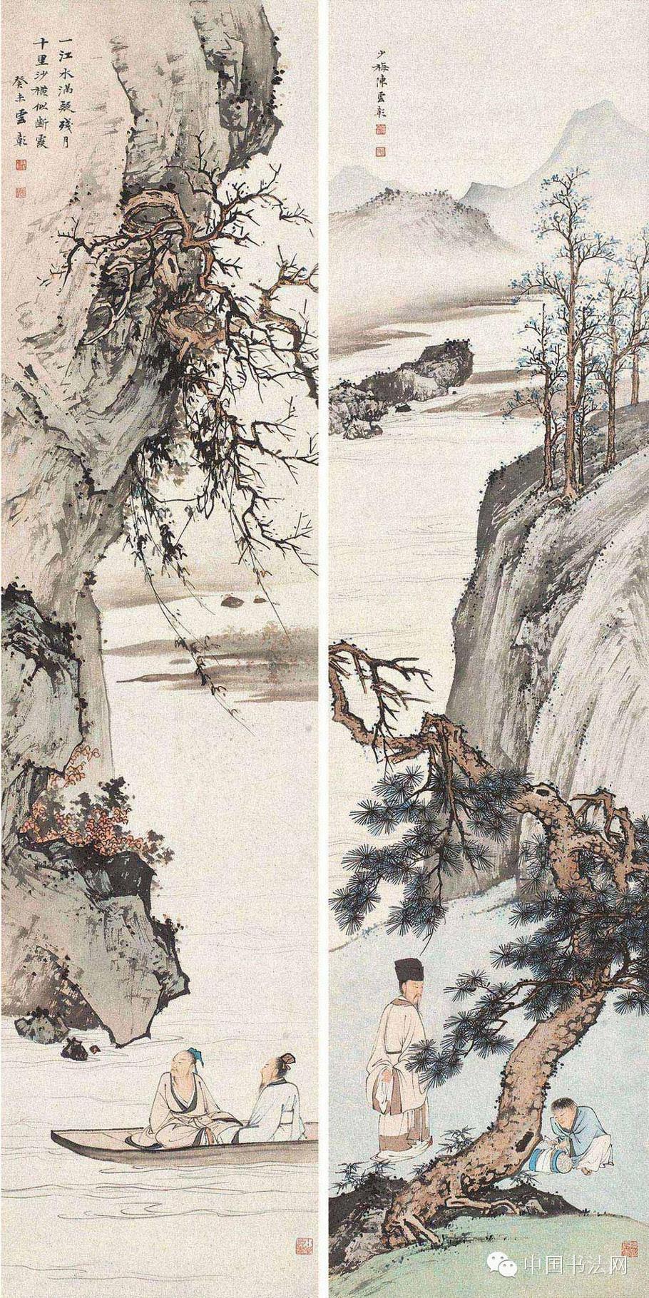 师,能工能简,水墨与重彩并长,山水、人物、花卉和书法均有一定造