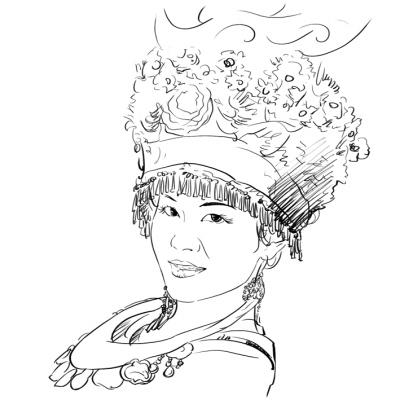 苗族风情手绘画
