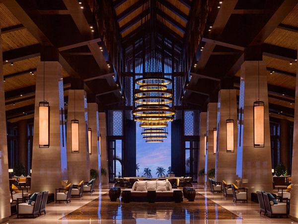 拱形天花板和外露式木梁,采用当地材质的板材和有机形态的现代枝形