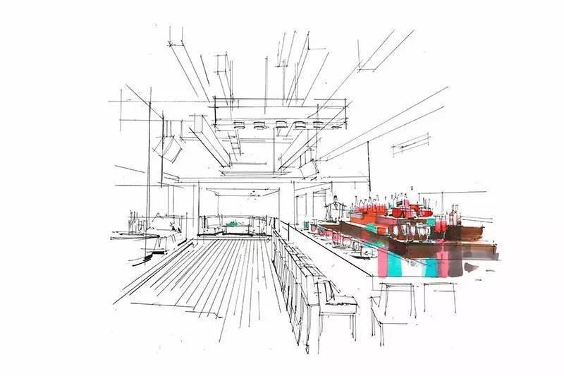 手绘餐厅吧台