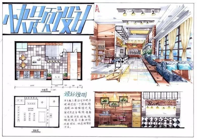 手绘餐厅快题设计-搜狐