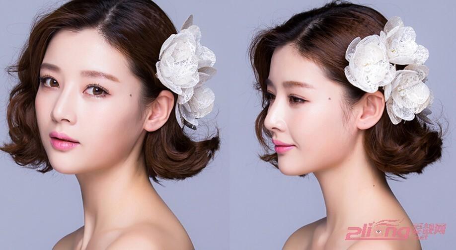 这款圆脸新娘妆容则是比较偏向韩式新娘妆容的类型,蓬松卷翘的梨花烫图片