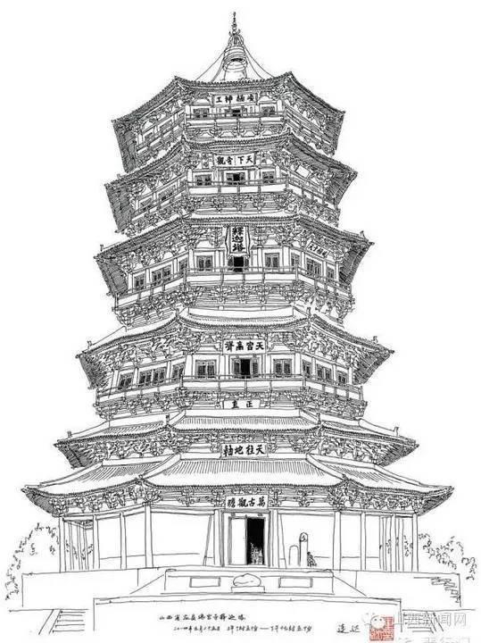 出于对山西古建的狂热喜爱,手绘了他在山西看到的古建筑.