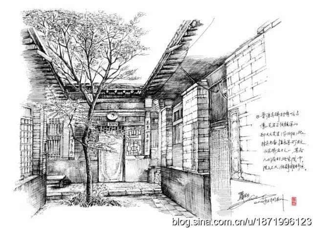 古建筑手绘插画
