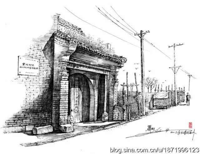 古建筑漫画手绘