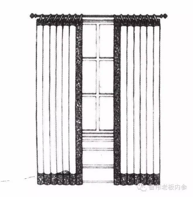 家]窗帘与褶形布帘搭配的手绘图欣赏(一)