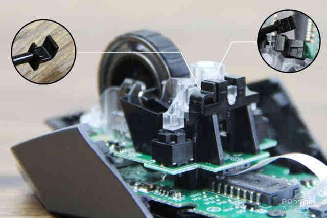 micro-gear滚轮方面,单纯固定边采用了锁栓与卡位,这内部结构的设计真