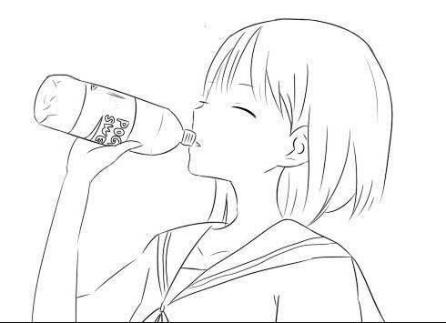 简笔画 喝水图片