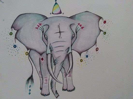 """""""我去圣地亚哥的动物园玩,我看到的大象身上点缀着充满民族风的装饰物"""