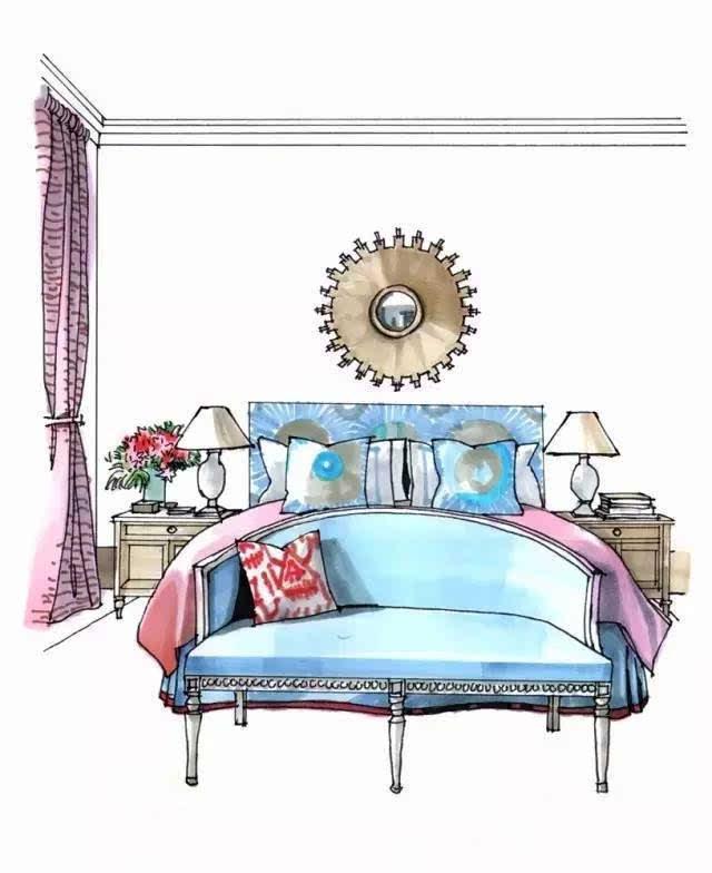 家具透视手绘床