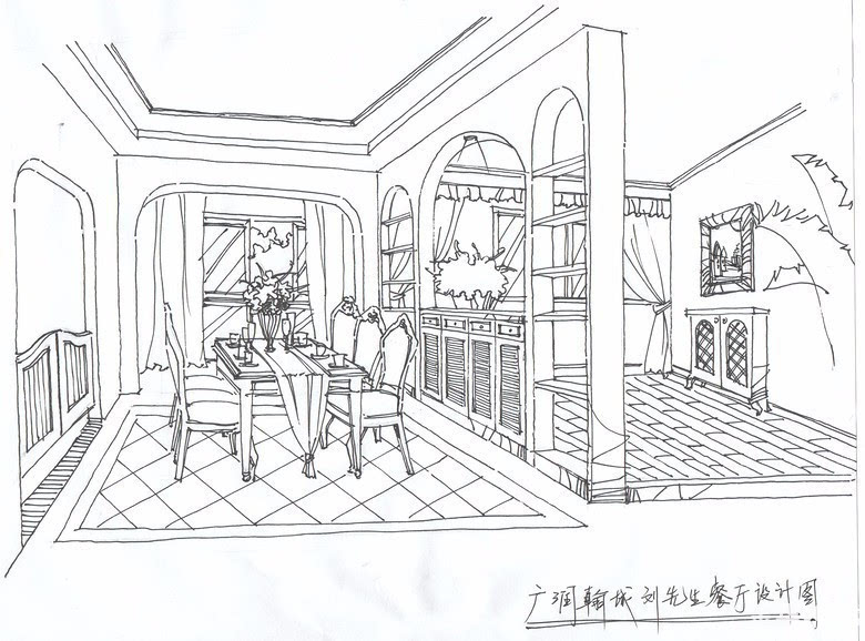 室内手绘线稿单体窗帘
