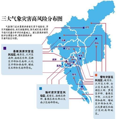作为沿海大都市,广州城市化程度高,热岛效应明显,城市温度较周边明显
