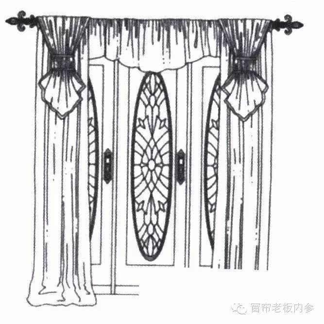 家]窗帘与褶形布帘搭配的手绘图欣赏(二)