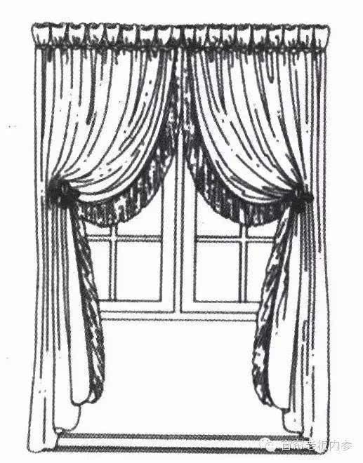 高脚杯形褶皱窗帘,带金银丝饰带和百合花形窗帘钩