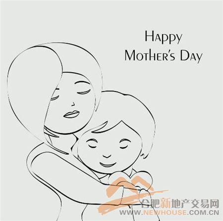 妈妈拥抱小孩简笔画卡通
