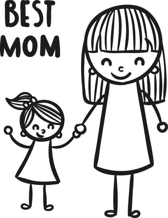 全家人简笔画-你和妈妈第一个关于钱的话题图片