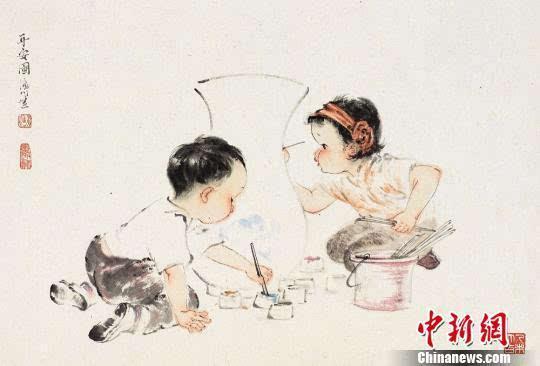 """青年画家潘川""""童趣""""国画个展在""""母亲节""""开展图片"""