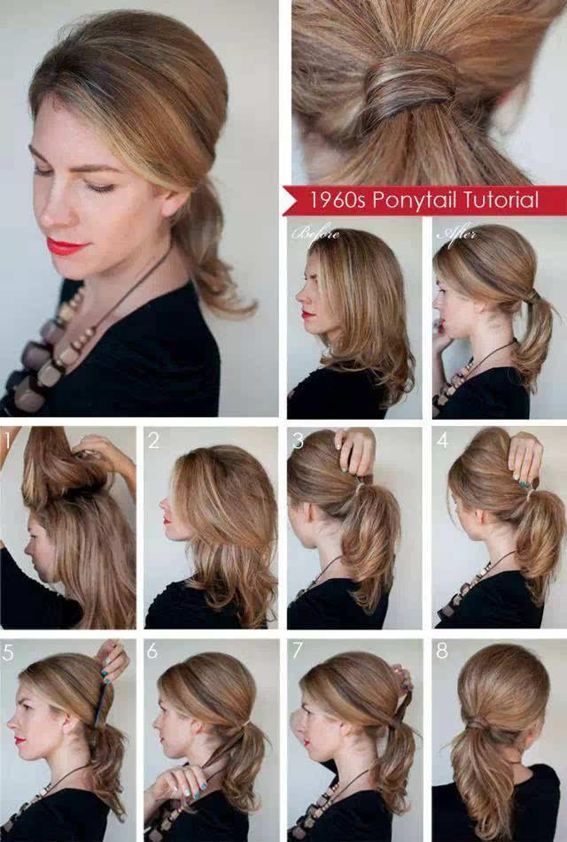24.以发绑发,塑造完美发尾   先将头发分两半,上半段抓住往上逆向刮头发。   之后放下,可看到蓬松弧度。   接着将头发整束绑起。   按住绑发处,将头发上方往上再推高。   用夹梳再梳齐上半部头发。   将马尾抓一束起来。   用方才那束头发往上绕圈绑起。   用夹子固定即完成。   - 精品推荐,你绝对不能错过的微信号 -