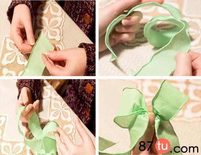 扎蝴蝶结的松叶,果松折法图解教程