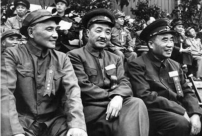 1949年,朱德,贺龙,邓小平(从右至左)出席全军运动会.