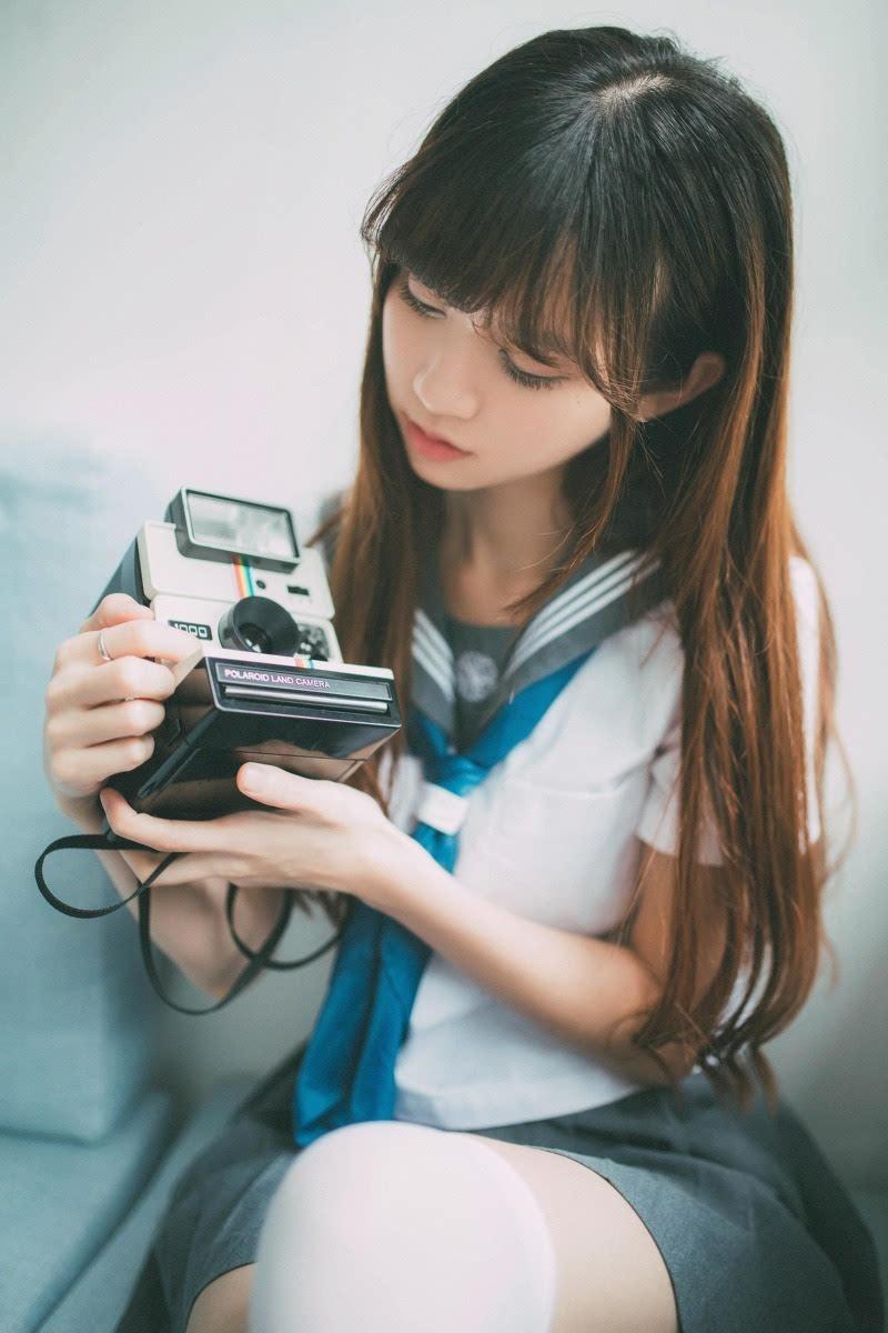 学生装素颜清纯刘海白丝袜美女(1)