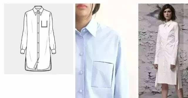 单边胸袋运用雪纺材质. 梯形上衣,前后下摆不对称,落肩,喇叭袖.图片