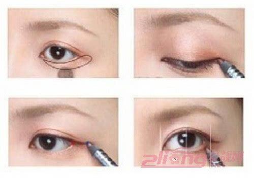 步骤四:用眼影刷在眼窝出刷上浅粉色的眼影打底
