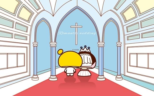 蘑菇点点现代婚礼可爱卡通主题电脑壁纸