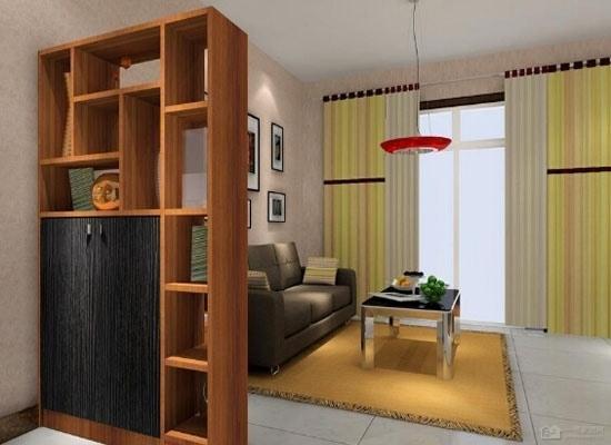 这款客厅隔断装饰柜,主要是采用原木色板式材料拼合而成,潮流感十足