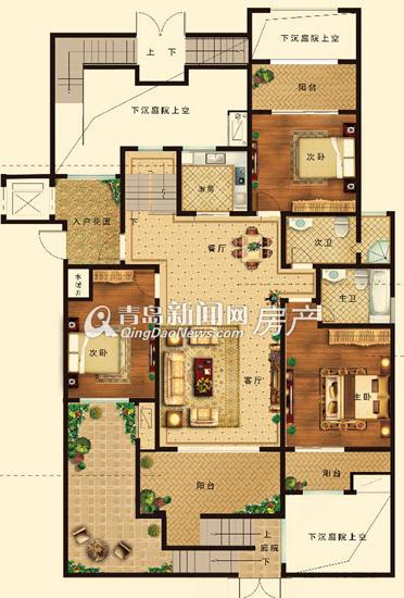 天一波尔卡小镇114-142㎡三室两厅两卫e户型