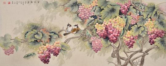 堂》作品出自:易从网-画葡萄最好的画家 国画大师王一容