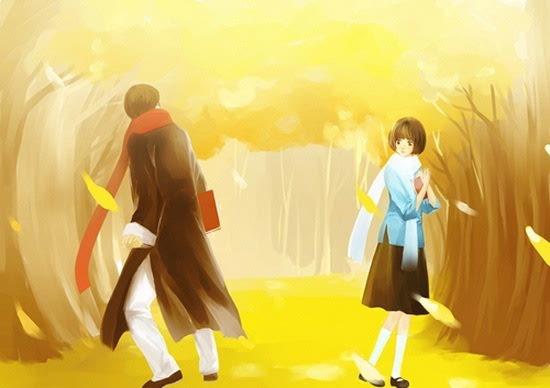 中显现出古装男女立于桃花树下的影像,展示出了隐藏其中的古风内容