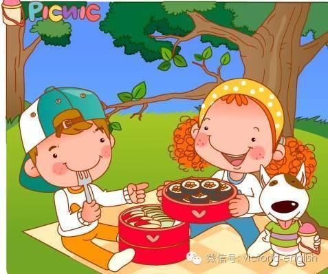 家庭野餐简笔画