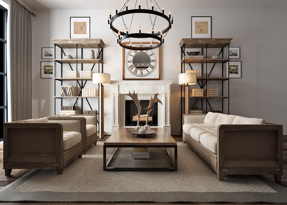 现代新美式客厅效果图