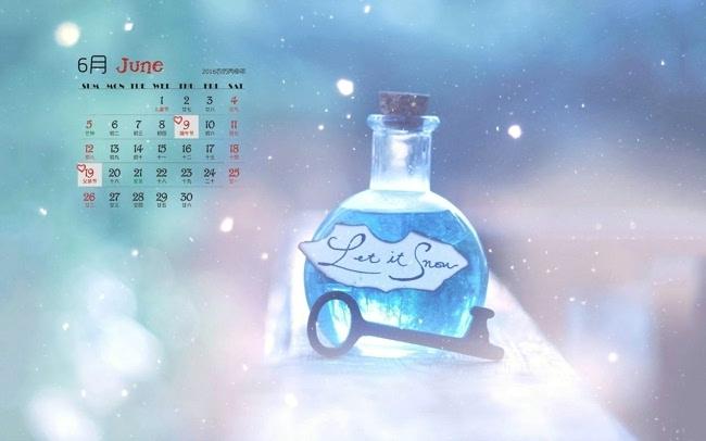小清新2016年6月日历电脑桌面壁纸