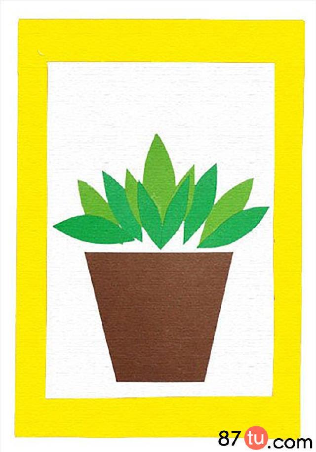 儿童亲子手工花盆卡制作图解教程