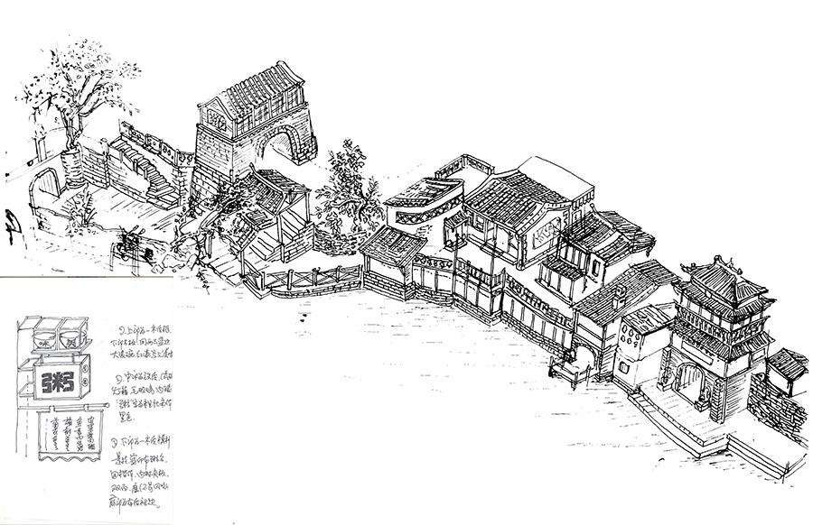 陈向宏设计古镇时的手绘图 来源:乌镇提供 时间是一条河,把结果冲刷到人的面前。但是在起点,谁也不知道这样是对是错。 如今想来,一切始于1998年。 彼时的上海已经高楼大厦拔地而起,水乡周庄也已经名闻遐迩。但乌镇,还很穷。 穷到什么地步呢?没有一条平整的道路通往乌镇。