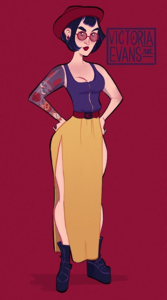 白雪公主穿着时髦的高开衩裙与醒目的刺青.