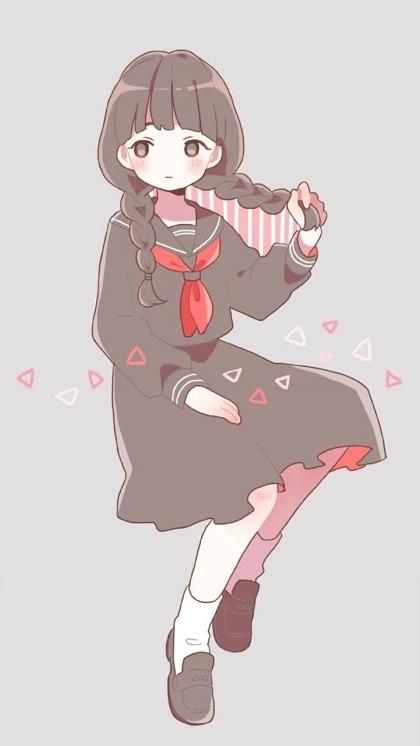 可爱粉色女生卡通图片手机壁纸
