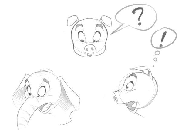 动物凸显牙齿简笔画