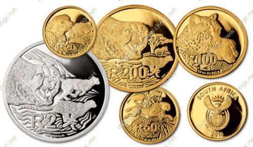 """南非发行""""大型猫科动物系列"""" 猎豹金银纪念币(图)"""