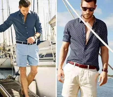 去海边的话,适合蓝色系和白色的单品,选择衬衫 短裤搭配黑色或者棕色
