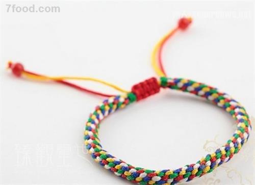 彩绳手链编法图解步骤