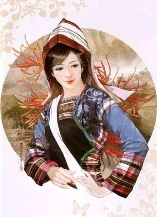 数民族手绘美女