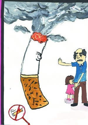 征文绘画手抄报 控烟知识入脑入心