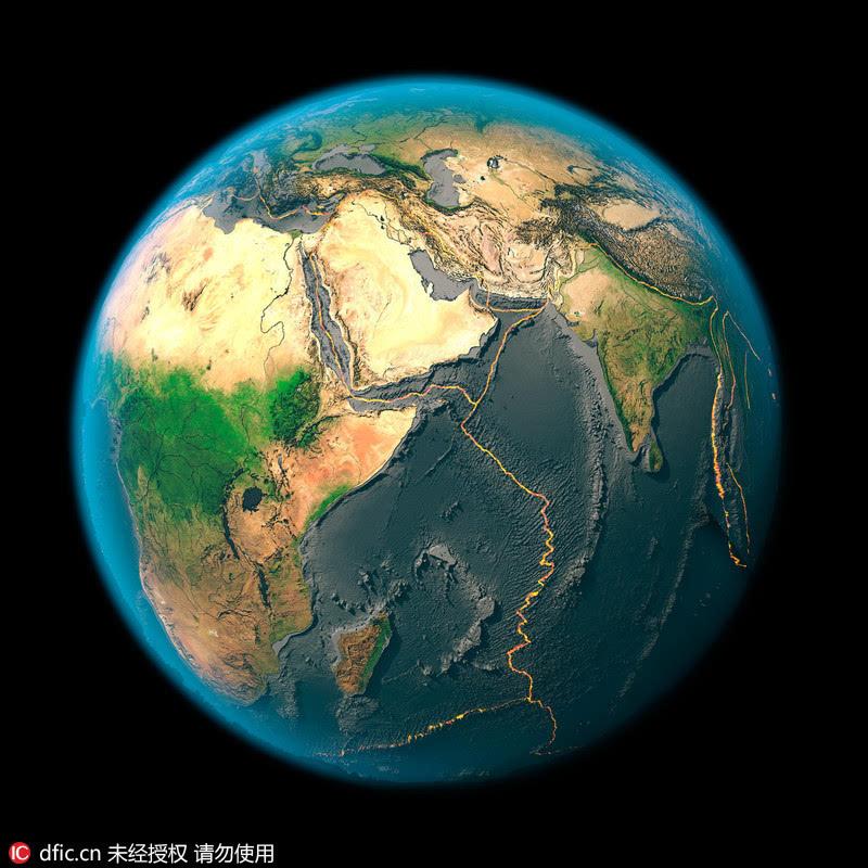 震撼:卫星图片展示地球十五大板块构造