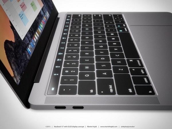 概念图:如果MacBook Pro在键盘上方配备了动态OLED触控栏的照片 - 1