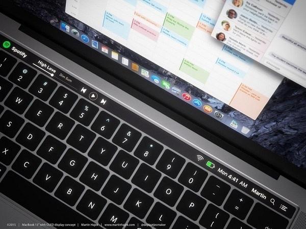 概念图:如果MacBook Pro在键盘上方配备了动态OLED触控栏的照片 - 2
